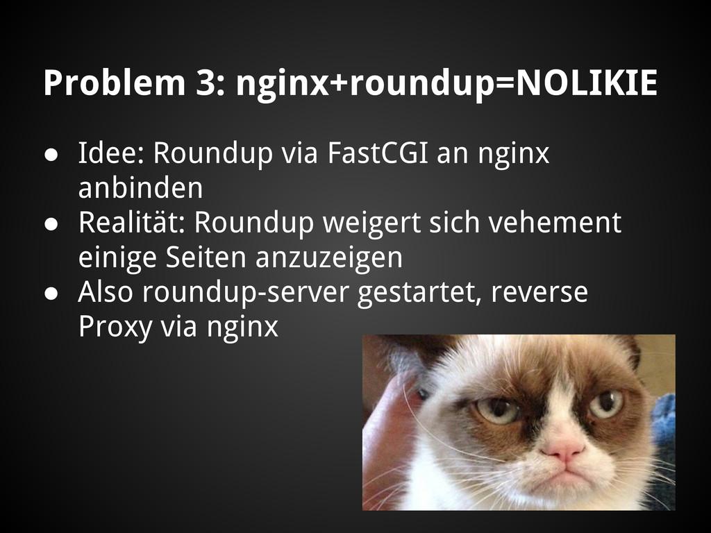 Problem 3: nginx+roundup=NOLIKIE ● Idee: Roundu...