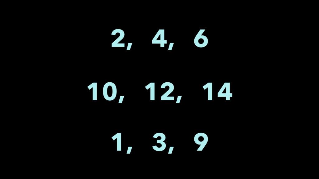 2, 4, 6 10, 12, 14 1, 3, 9