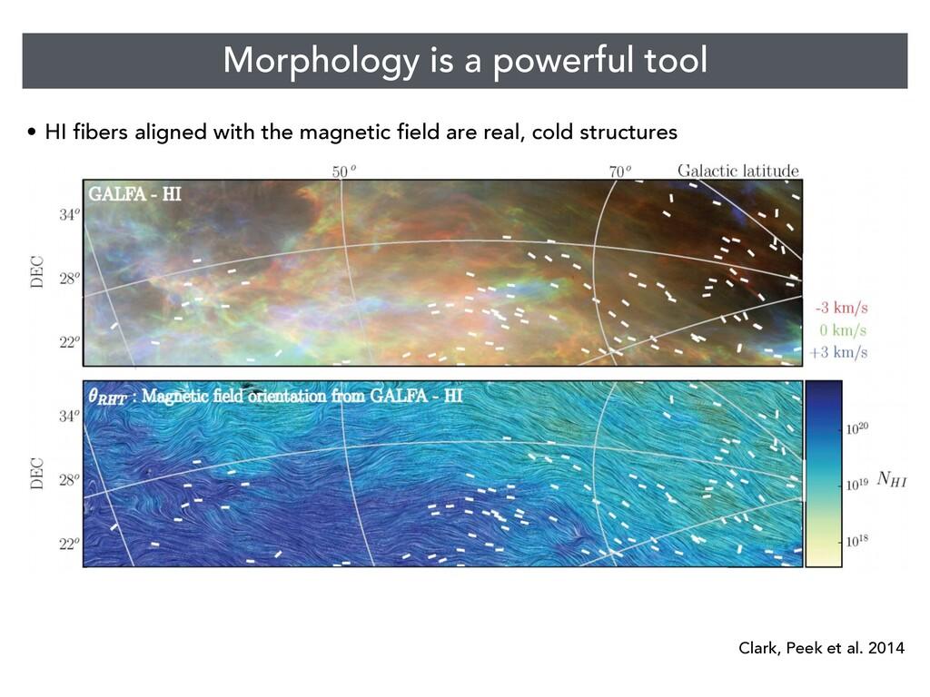 Morphology is a powerful tool • HI fibers align...