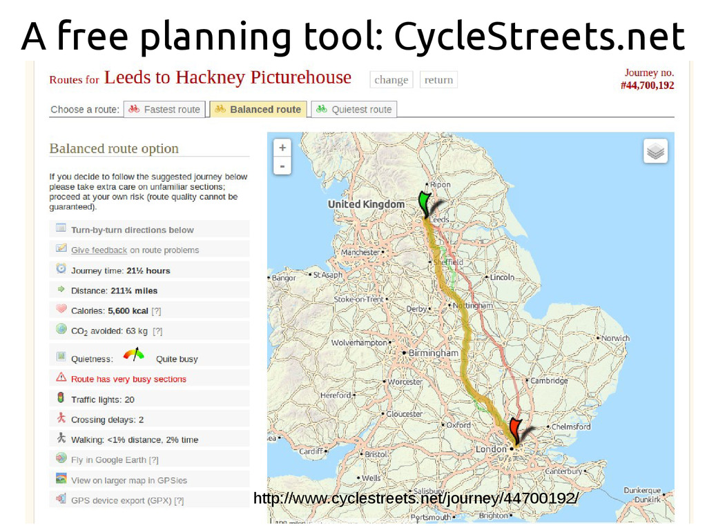 A free planning tool: CycleStreets.net http://w...