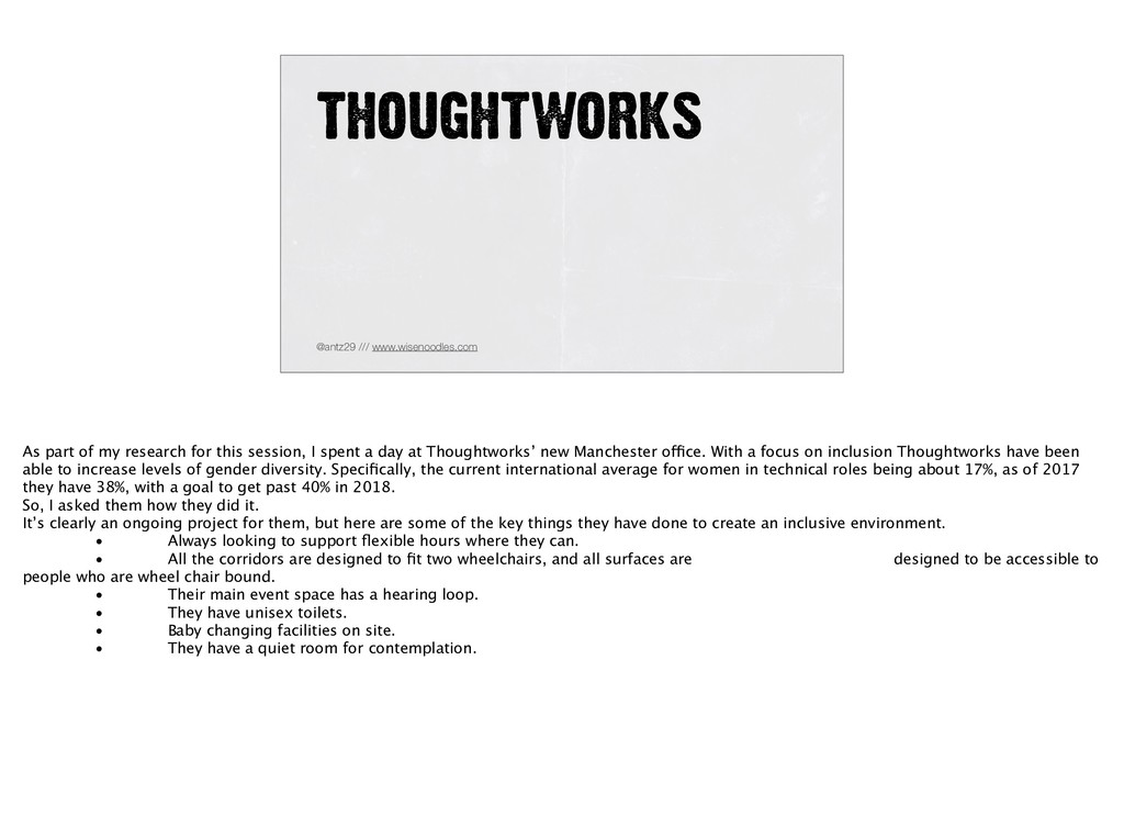 THOUGHTWORKS @antz29 /// www.wisenoodles.com As...