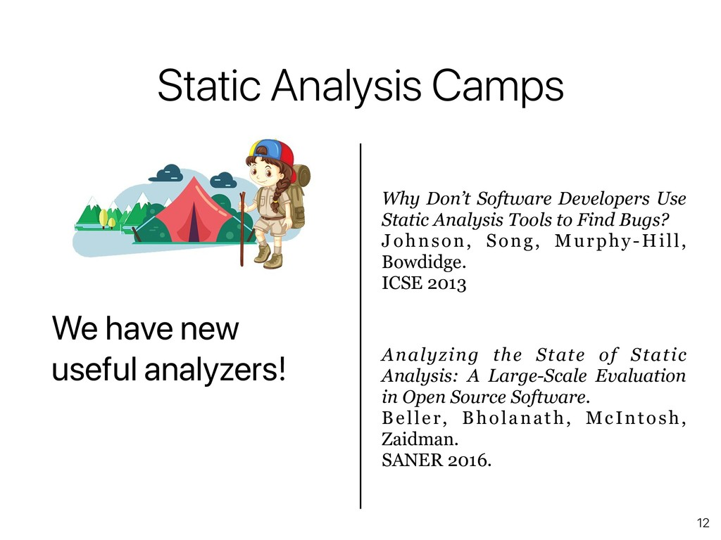 12 Static Analysis Camps We have new useful ana...