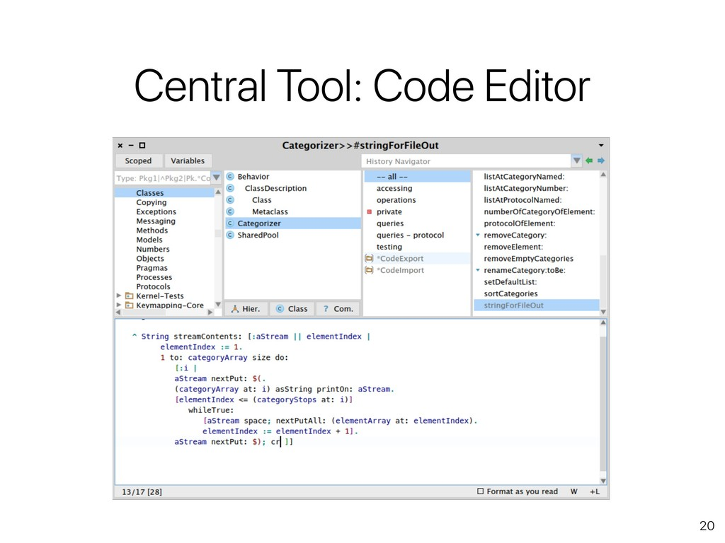 20 Central Tool: Code Editor