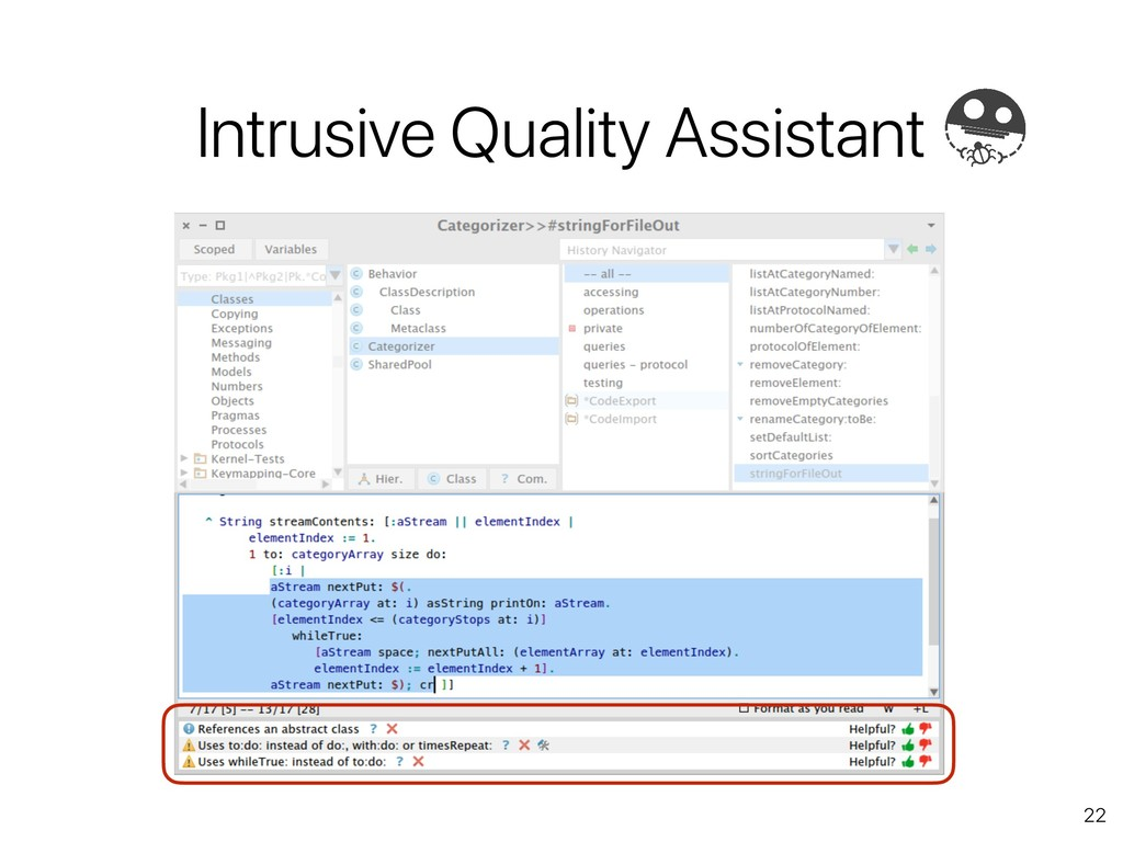 22 Intrusive Quality Assistant
