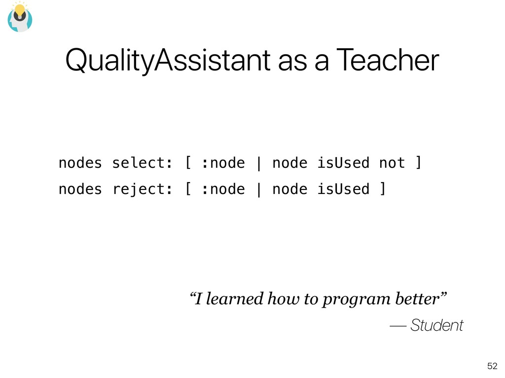 52 QualityAssistant as a Teacher nodes select: ...