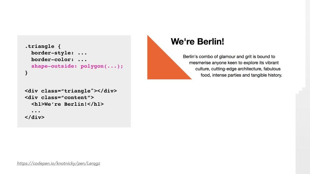 .triangle { border-style: ... border-color: ......