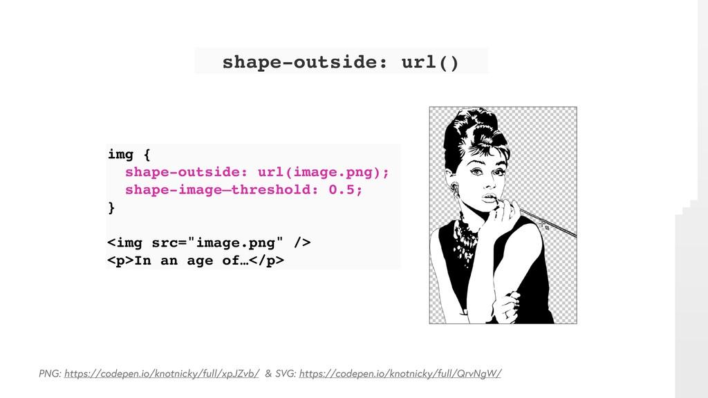 img { shape-outside: url(image.png); shape-imag...