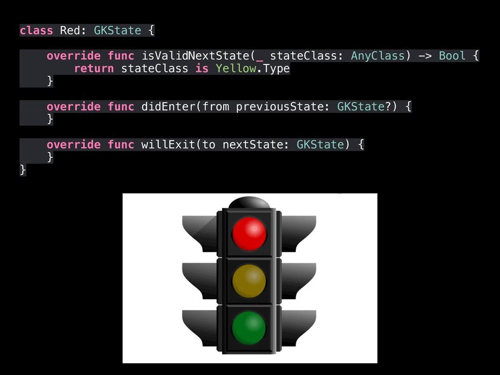 class Red: GKState { override func isValidNextS...