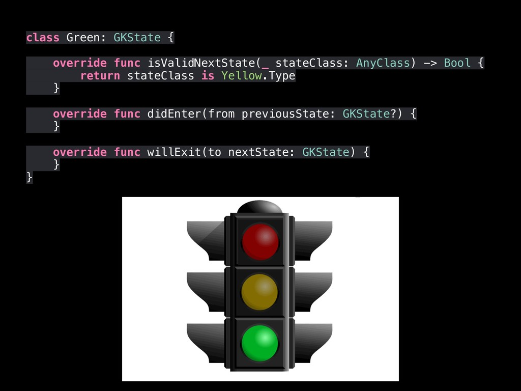 class Green: GKState { override func isValidNex...
