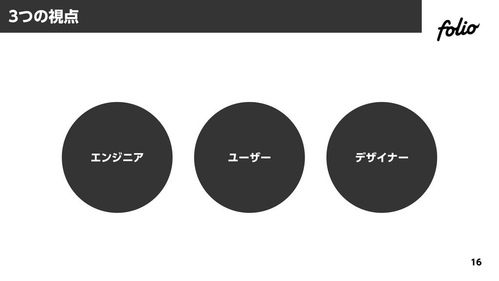 3つの視点 16 エンジニア ユーザー デザイナー