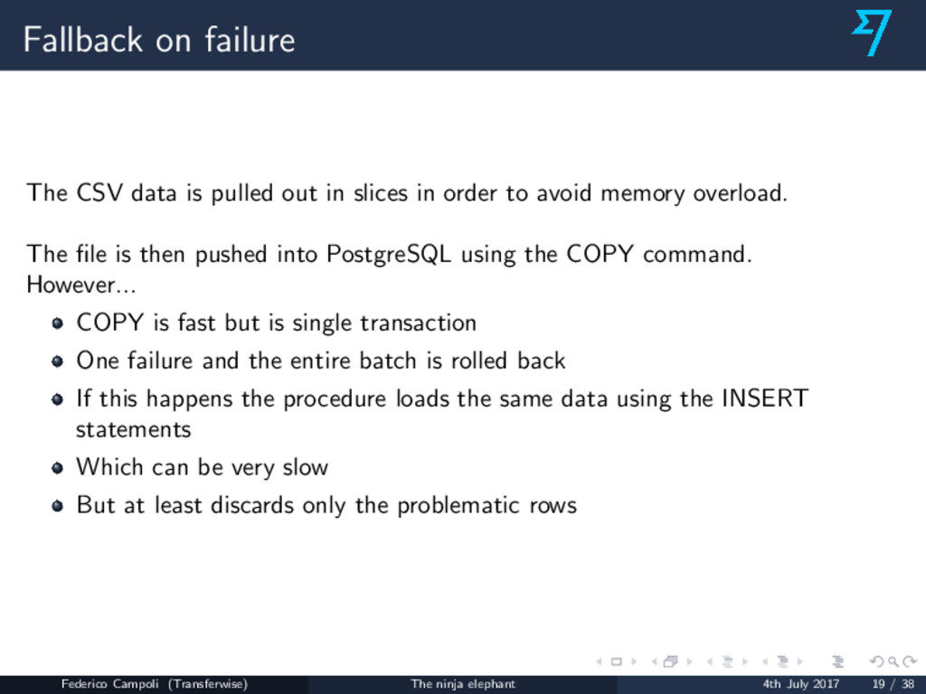 Fallback on failure The CSV data is pulled out ...