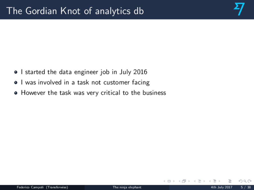 The Gordian Knot of analytics db I started the ...