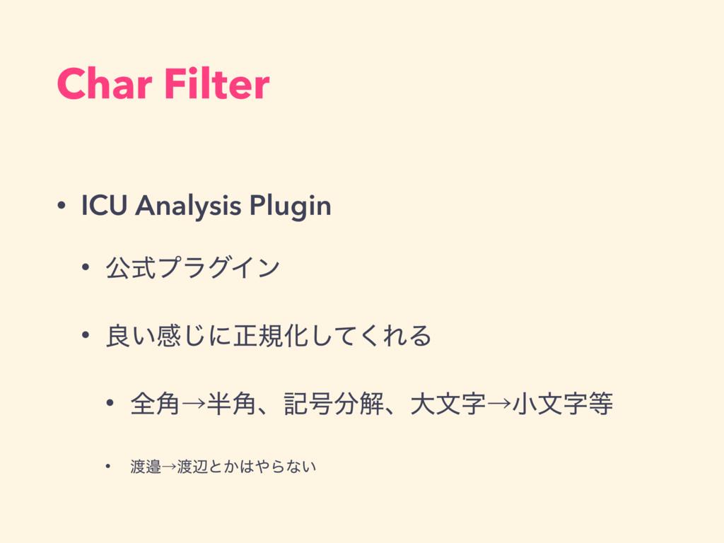 Char Filter • ICU Analysis Plugin • ެࣜϓϥάΠϯ • ྑ...