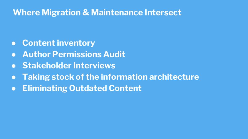● Content inventory ● Author Permissions Audit ...