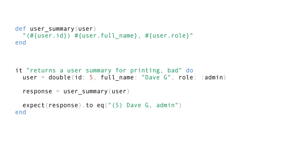"def user_summary(user) ""(#{user.id}) #{user.ful..."