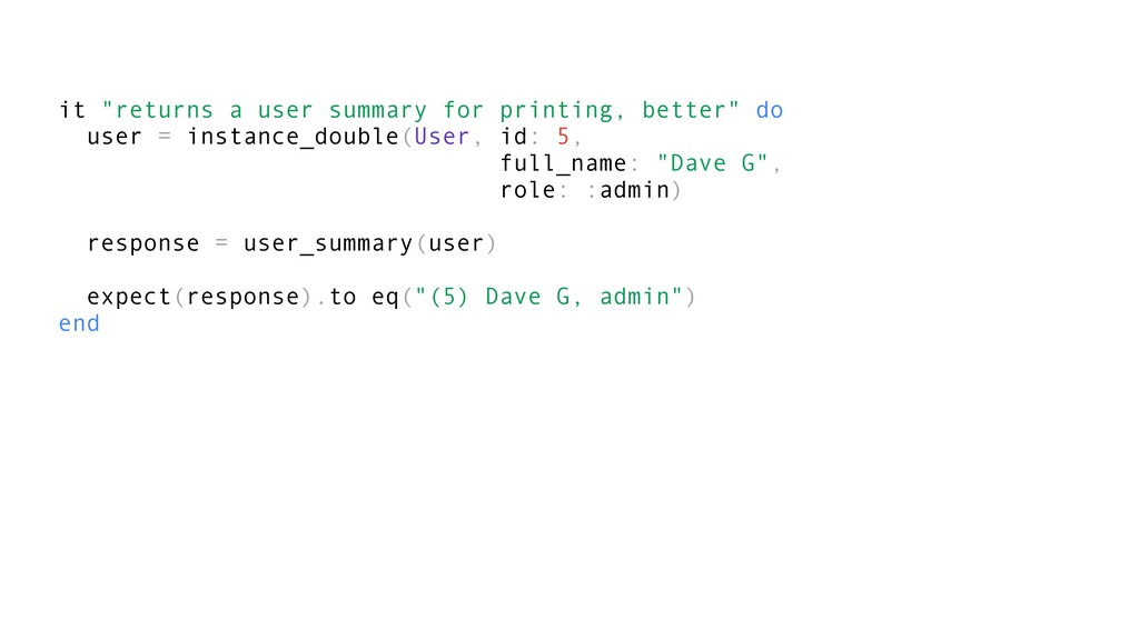 """it """"returns a user summary for printing, better..."""
