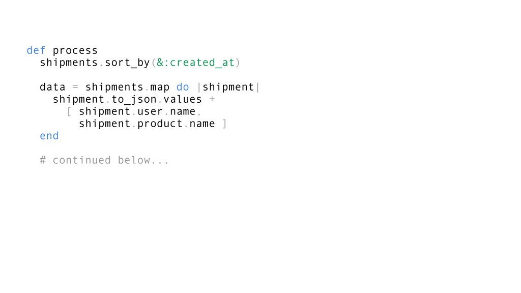 def process shipments.sort_by(&:created_at) dat...