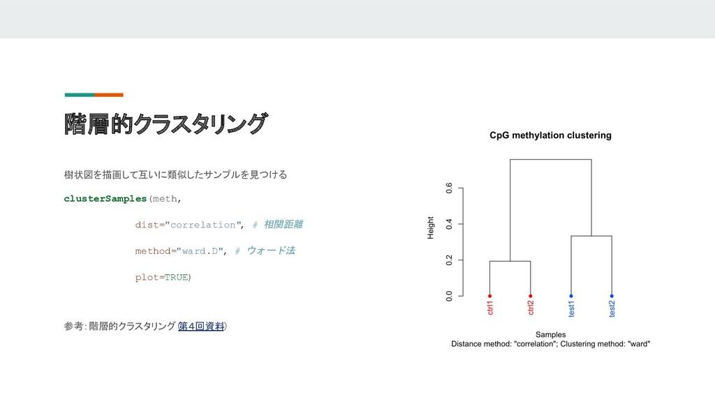 階層的クラスタリング 樹状図を描画して互いに類似したサンプルを見つける clusterSamp...