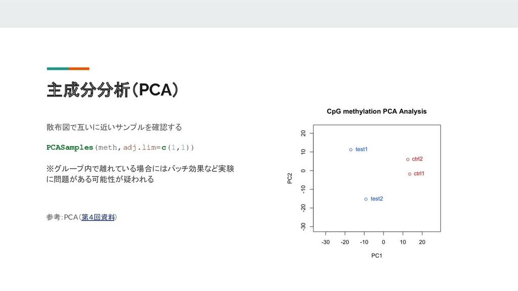 主成分分析(PCA) 散布図で互いに近いサンプルを確認する PCASamples(meth,a...