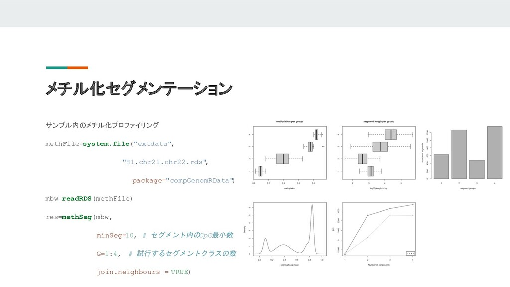メチル化セグメンテーション サンプル内のメチル化プロファイリング methFile=syste...