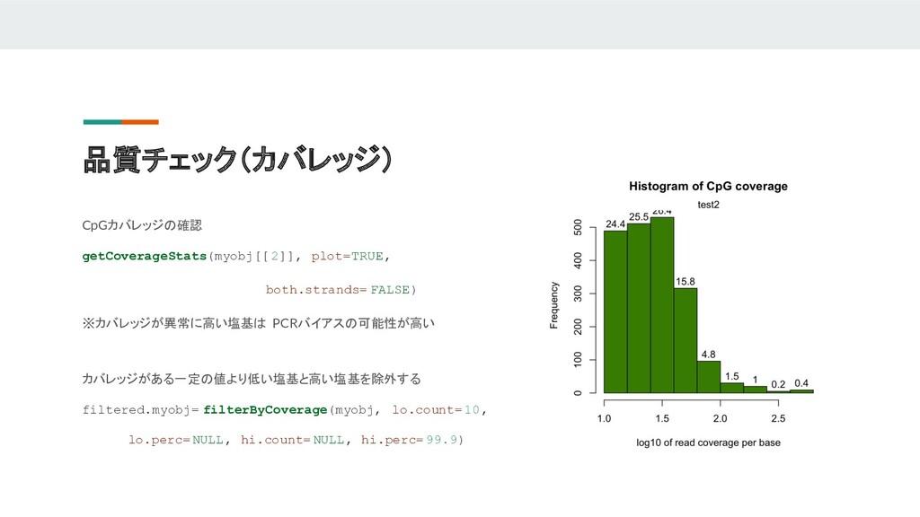 品質チェック(カバレッジ) CpGカバレッジの確認 getCoverageStats(myob...