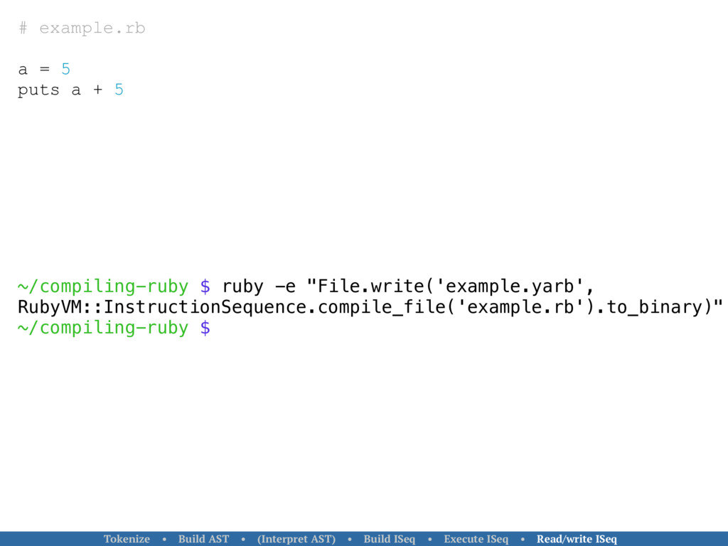 # example.rb a = 5 puts a + 5 ~/compiling-ruby ...