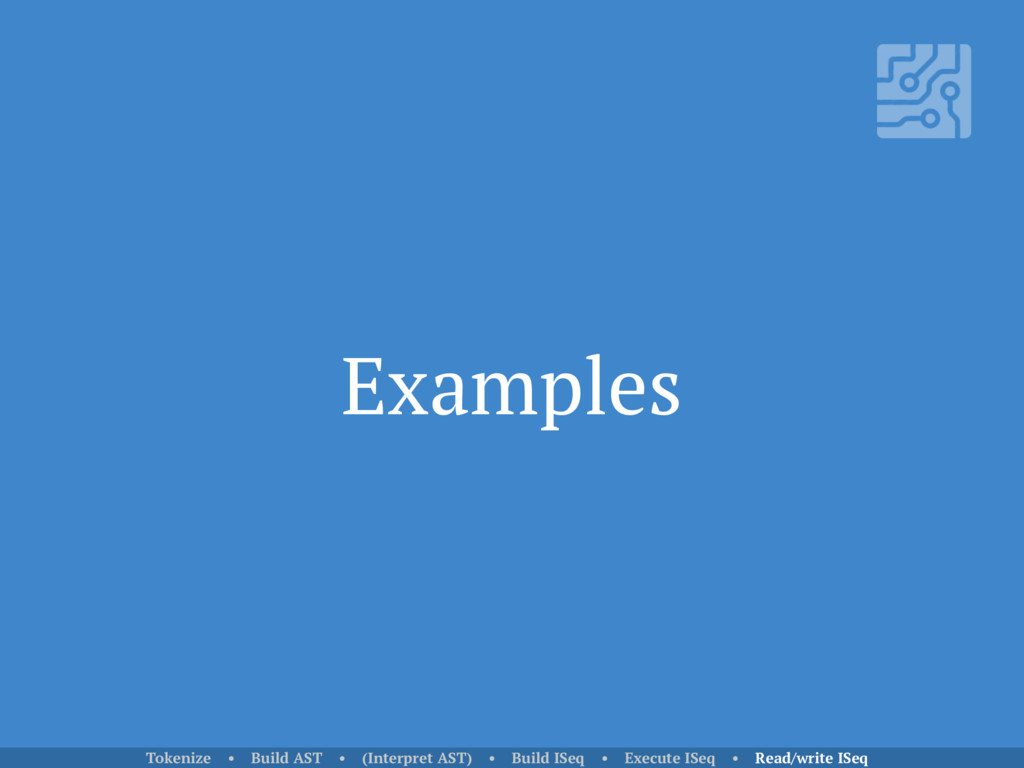 Examples Tokenize • Build AST • (Interpret AST)...