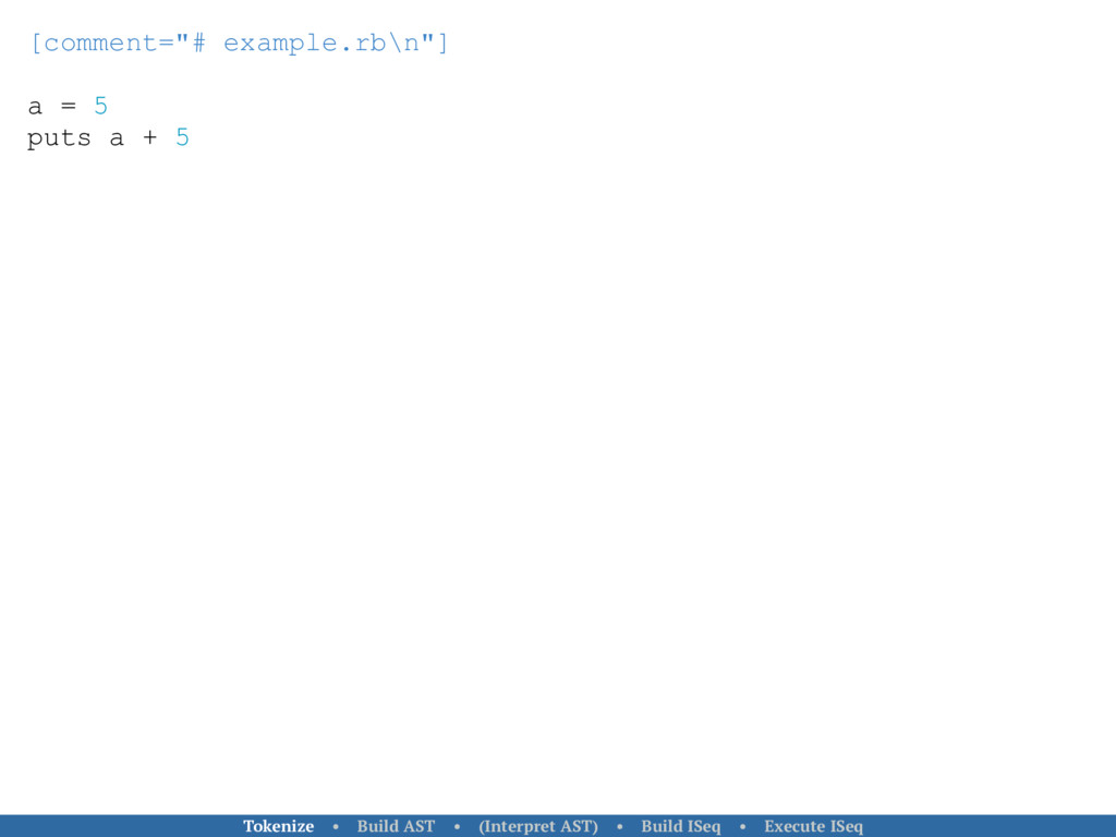 "[comment=""# example.rb\n""] a = 5 puts a + 5 Tok..."