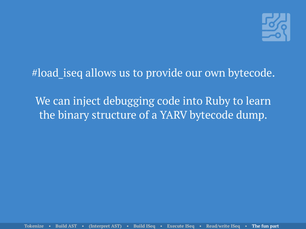 #load_iseq allows us to provide our own bytecod...