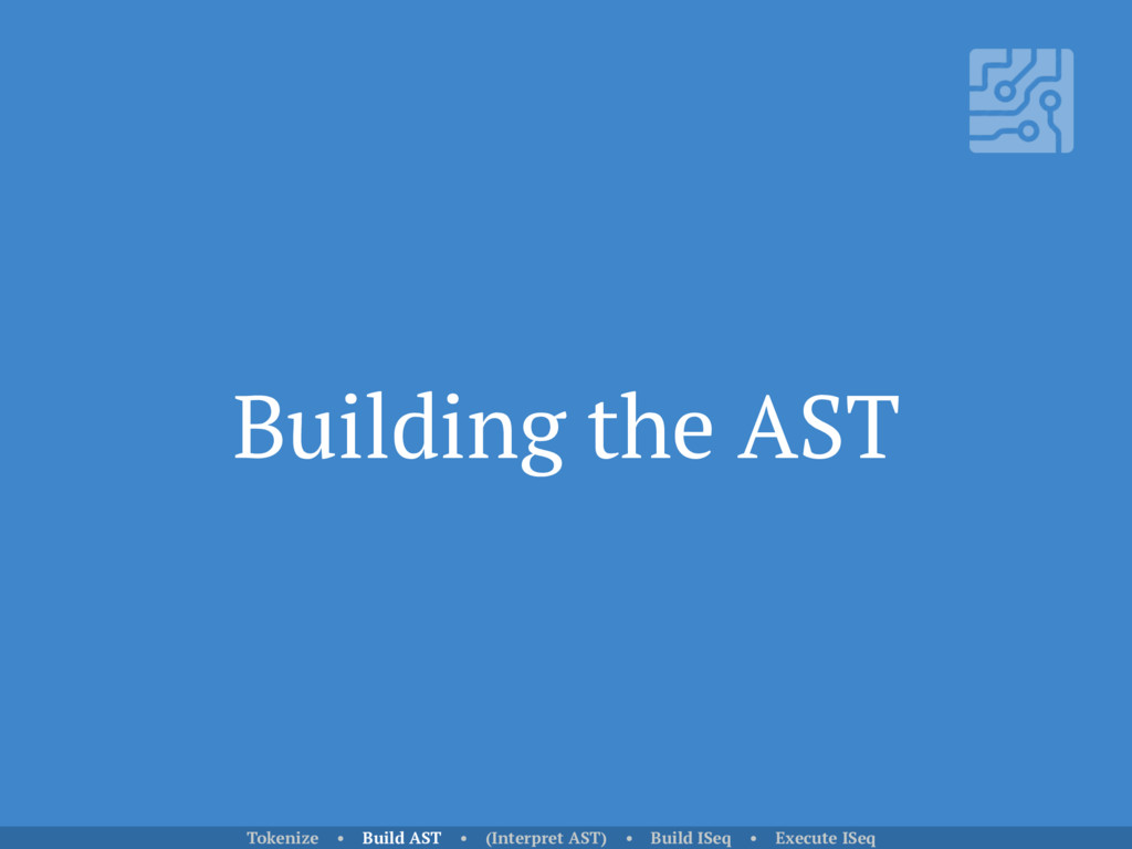 Building the AST Tokenize • Build AST • (Interp...