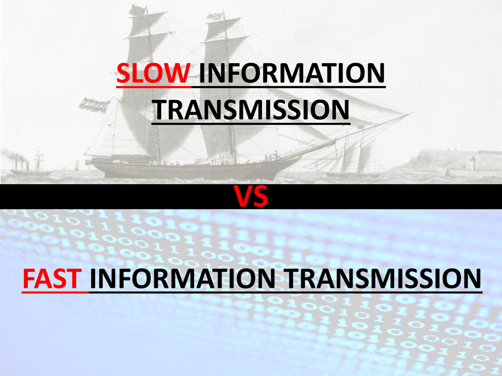 VS SLOW INFORMATION TRANSMISSION FAST INFORMATI...