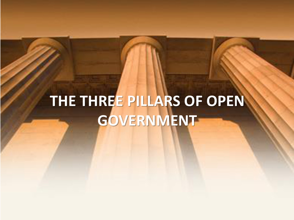 THE THREE PILLARS OF OPEN GOVERNMENT