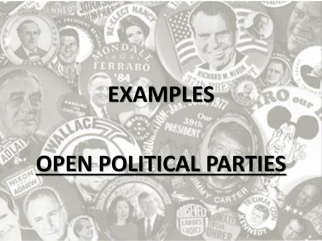 EXAMPLES OPEN POLITICAL PARTIES