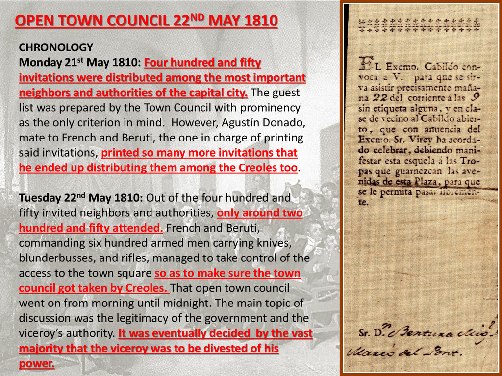 OPEN TOWN COUNCIL 22ND MAY 1810 CHRONOLOGY Mond...