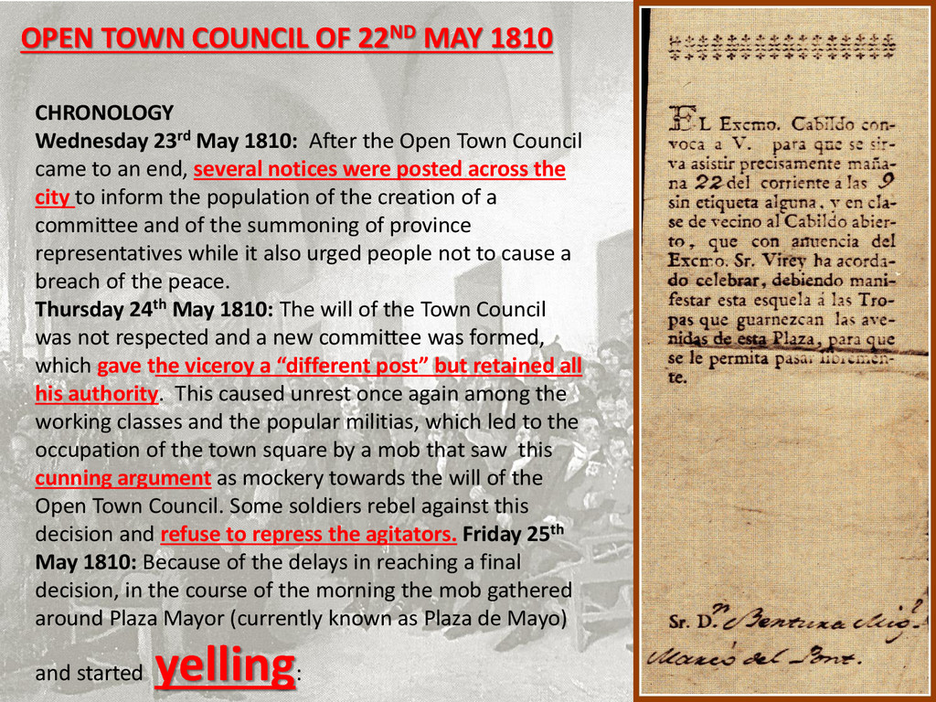 OPEN TOWN COUNCIL OF 22ND MAY 1810 CHRONOLOGY W...