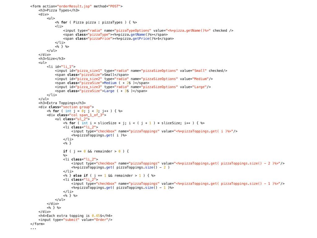 """<form action=""""orderResult.jsp"""" method=""""POST""""> <..."""