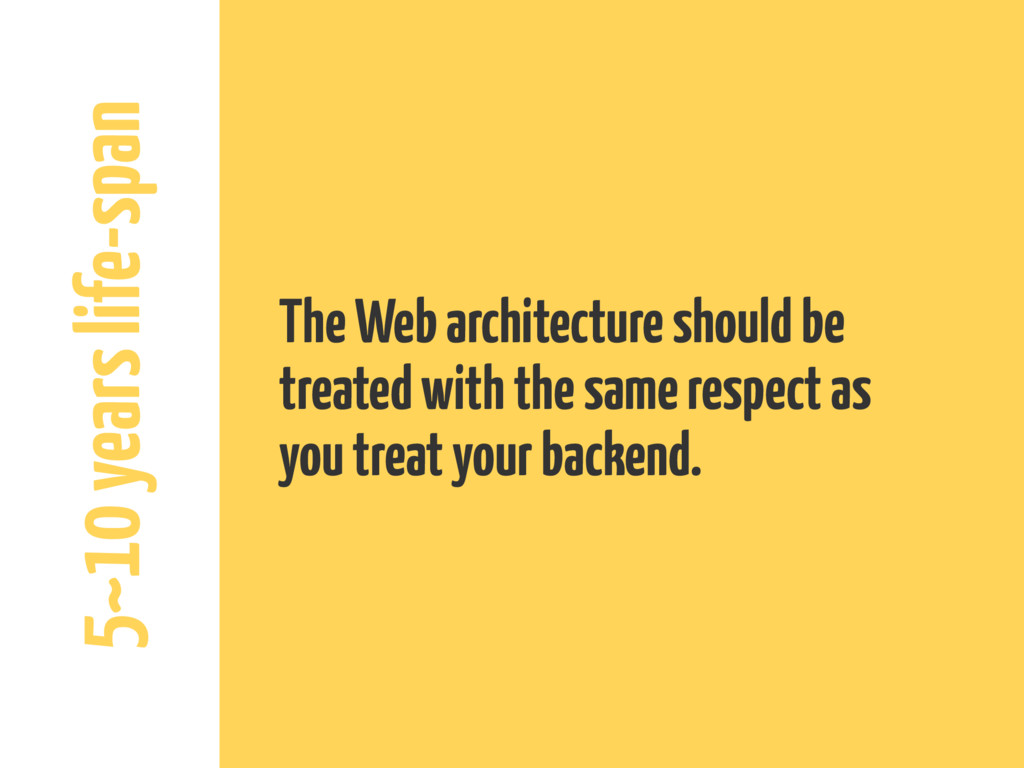 5~10 years life-span The Web architecture shoul...