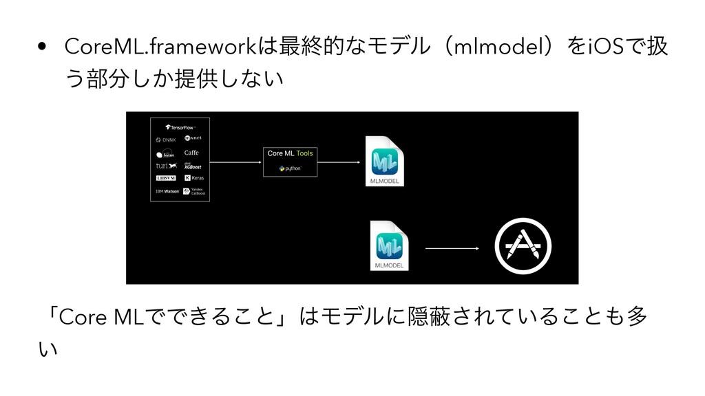 • CoreML.framework࠷ऴతͳϞσϧʢmlmodelʣΛiOSͰѻ ͏෦͔͠...