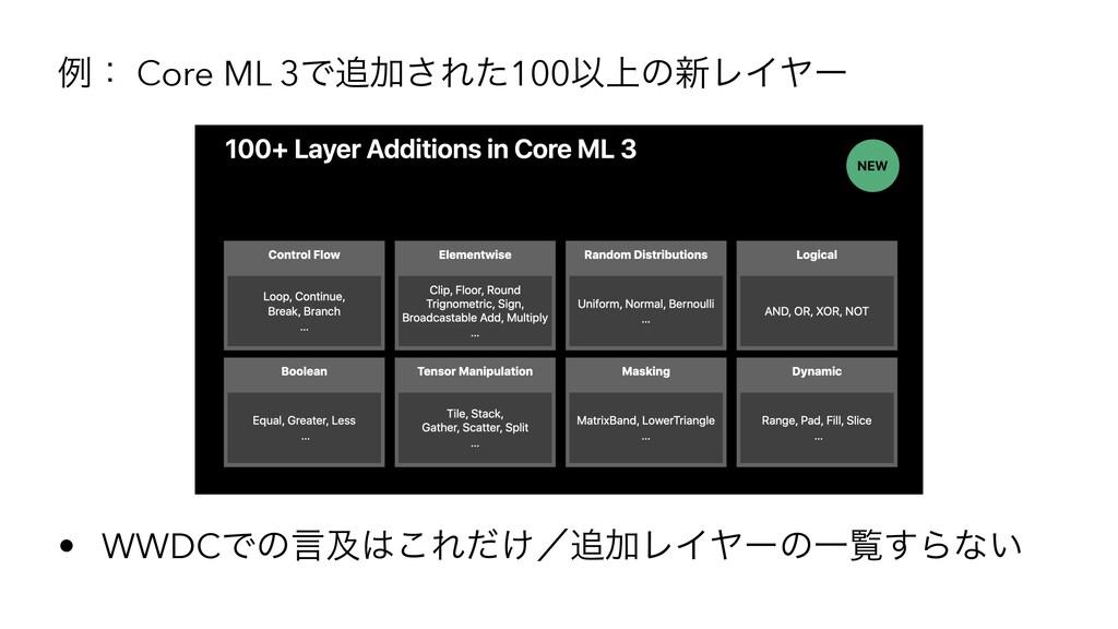 ྫɿ Core ML 3ͰՃ͞Εͨ100Ҏ্ͷ৽ϨΠϠʔ • WWDCͰͷݴٴ͜Ε͚ͩʗ...