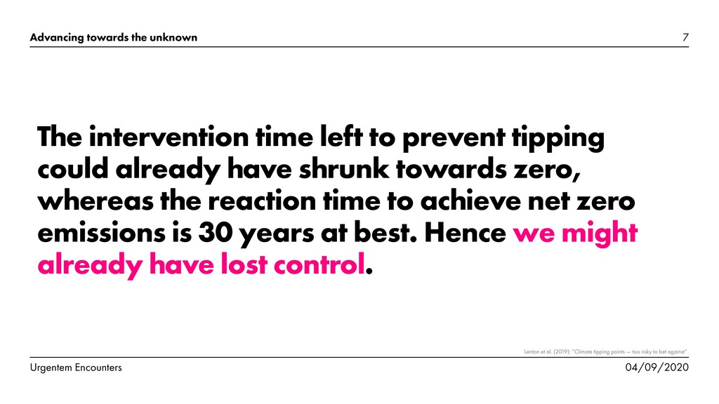 The intervention time left to prevent tipping c...