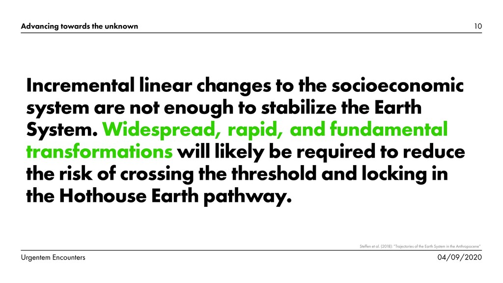 Incremental linear changes to the socioeconomic...
