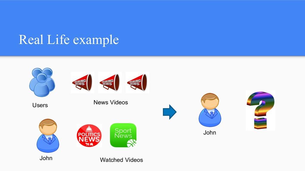 Real Life example Users News Videos John John W...