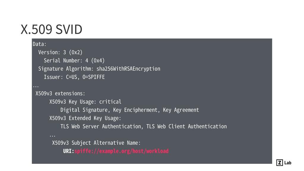 X.509 SVID Data: Version: 3 (0x2) Serial Number...