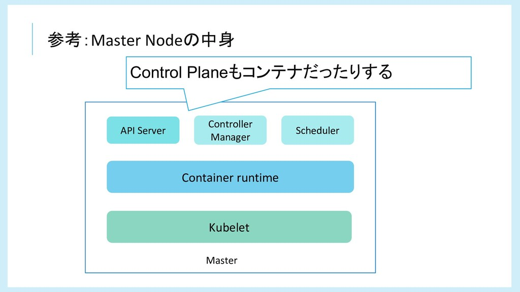 参考:Master Nodeの中身 Controller Manager Kubelet Co...
