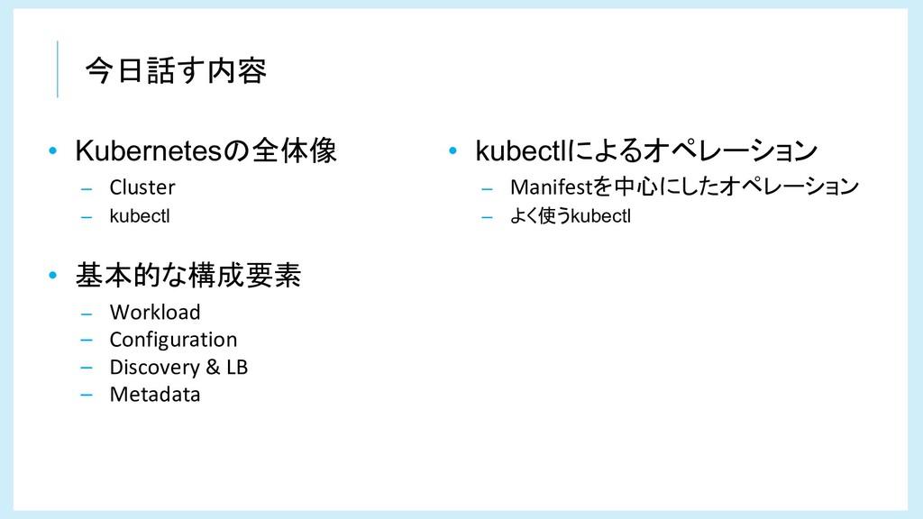 今日話す内容 • Kubernetesの全体像 – Cluster – kubectl • 基...