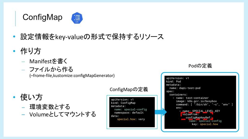ConfigMap • 設定情報をkey-valueの形式で保持するリソース • 作り方 – ...