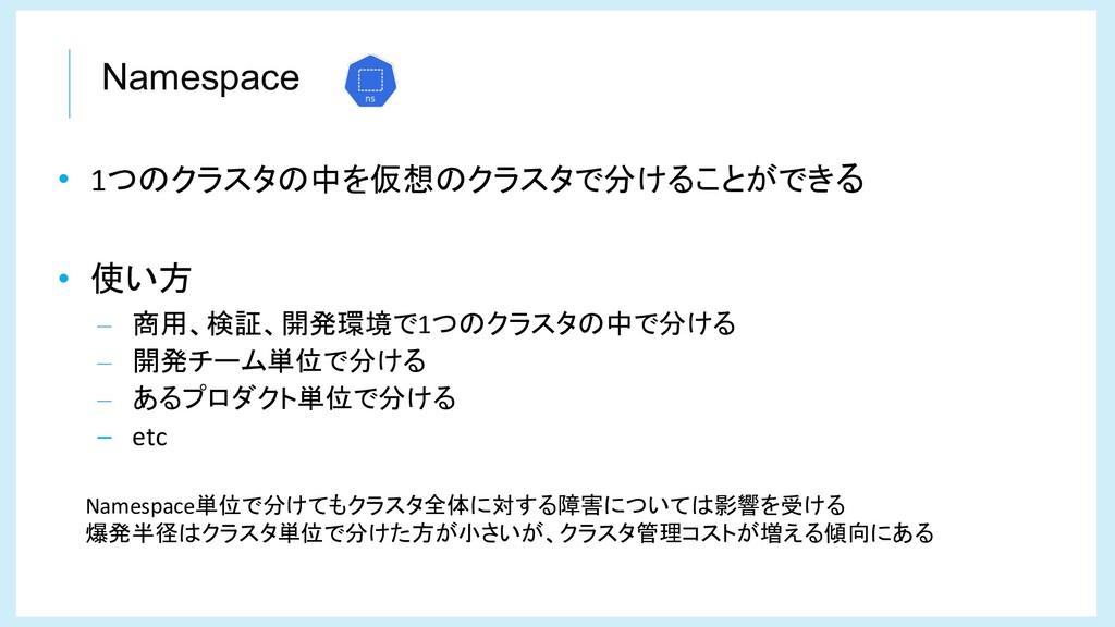 Namespace • 1つのクラスタの中を仮想のクラスタで分けることができる • 使い方 –...