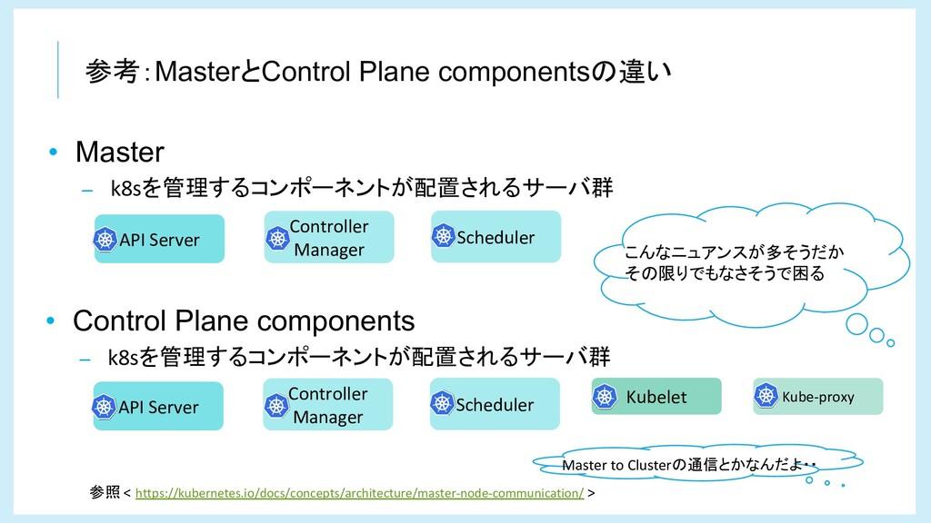 参考:MasterとControl Plane componentsの違い API Serve...