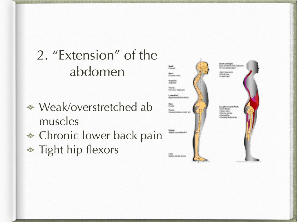 "2. ""Extension"" of the abdomen Weak/overstretche..."