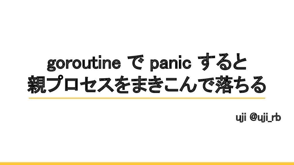 goroutine で panic すると 親プロセスをまきこんで落ちる uji @uji...
